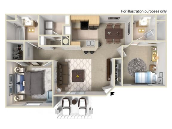 Floor Plan  two bedroom Floor Plan l Villas at D'Andrea Apartments in Sparks NV, opens a dialog.