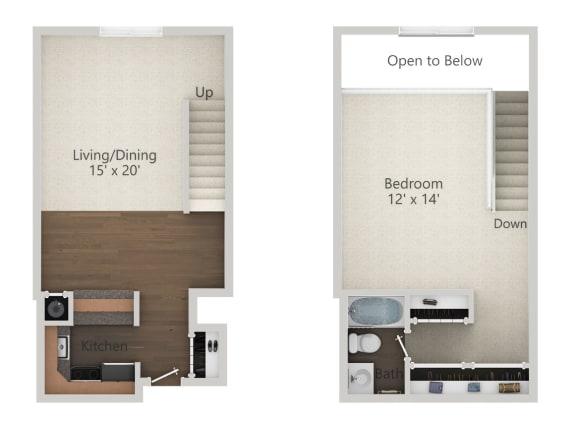 Floor Plan  1 Bedroom Loft Floor Plan at Park 44, St. Louis, 63108