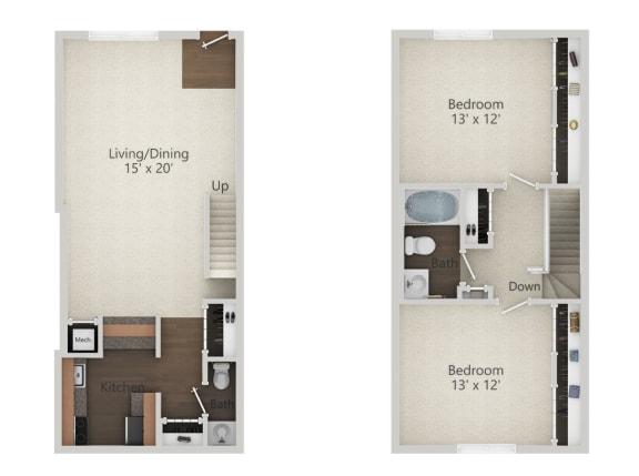 Floor Plan  2 Bedroom Townhouse Floor Plan at Park 44, St. Louis, Missouri