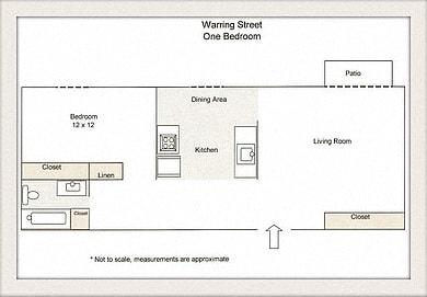 Floor Plan  one bedroom floor plan l Warring Apartments for rent in Berkeley CA