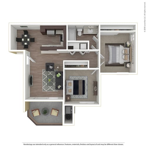 Floor Plan  2BR/1BA 2 Bed 1 Bath Floor Plan at 1750 On First, Simi Valley, 93065
