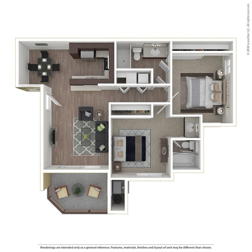 Floor Plan  2BR/2BA 2 Bed 2 Bath Floor Plan at 1750 On First, Simi Valley, California