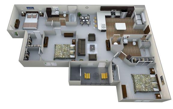 Floor Plan  C1  3D Floor Plan