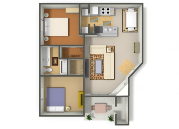 Floor Plan  Two Bedroom One Bathroom floor plan, opens a dialog.