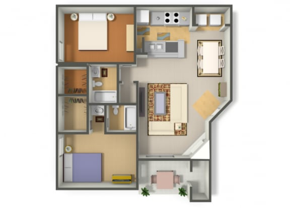 Floor Plan  Two Bedroom Two Bathroom floor plan, opens a dialog.