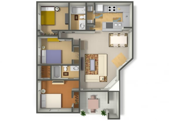Floor Plan  Three Bedroom Two Bathroom floor plan, opens a dialog.