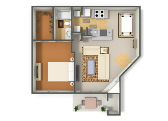 Floor Plan  One Bedroom One Bathroom floor plan, opens a dialog.