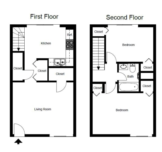 Floor Plan  Two Bedroom- B1