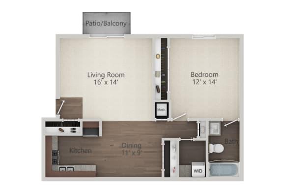 Floor Plan  1 Bedroom w/ WD Floor Plan at The Greenway at Carol Stream, Carol Stream