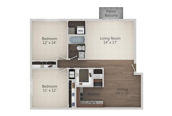 Floor Plan  2 Bedroom w/ WD Floor Plan at The Greenway at Carol Stream, Carol Stream, IL, 60188
