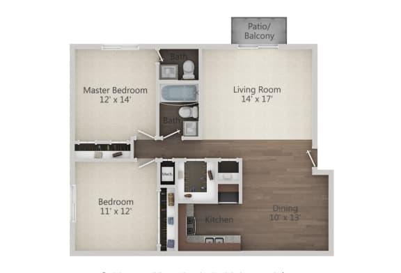 Floor Plan  2 Bedroom 1.5 Bath Floor Plan at The Greenway at Carol Stream, Illinois, 60188