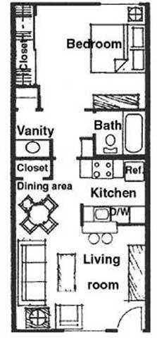 Floor Plan  1 bedroom 1 bathroom at River Oaks Apartments in Tucson, AZ, opens a dialog.