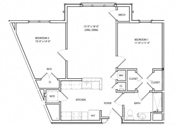 Floor Plan  Victory Crossing 2 Bedroom, 1 Bathroom Floor Plan