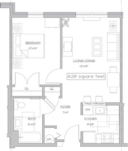 Floor Plan  One Bedroom- A1, opens a dialog.