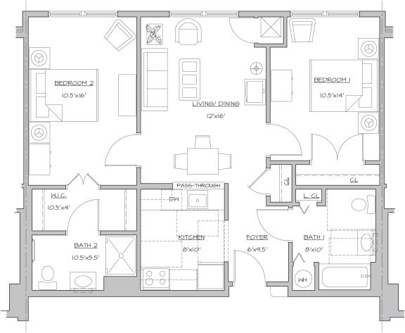 Floor Plan  Two Bedroom- B1, opens a dialog.
