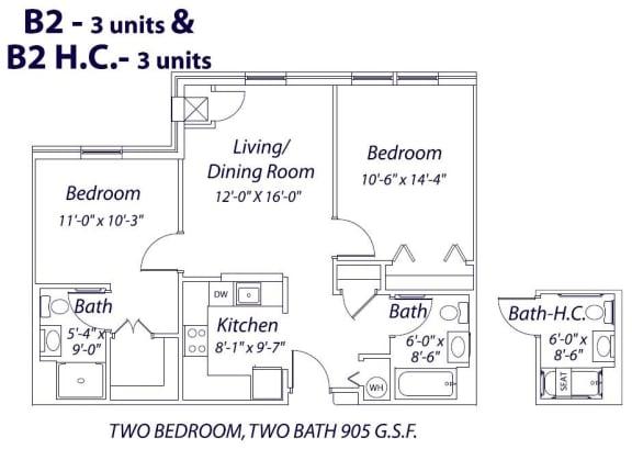 Floor Plan  Two Bedroom- B2 & B2 HC