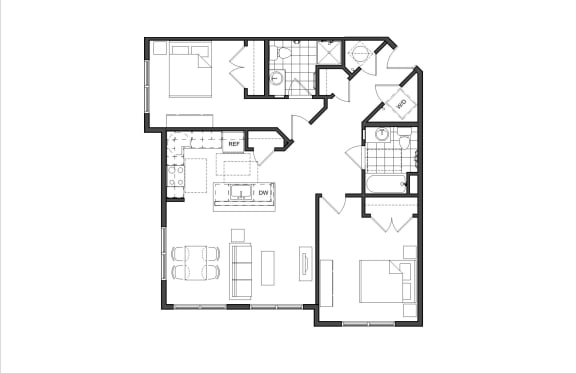 Floor Plan  Two-Bedrooom- 2A