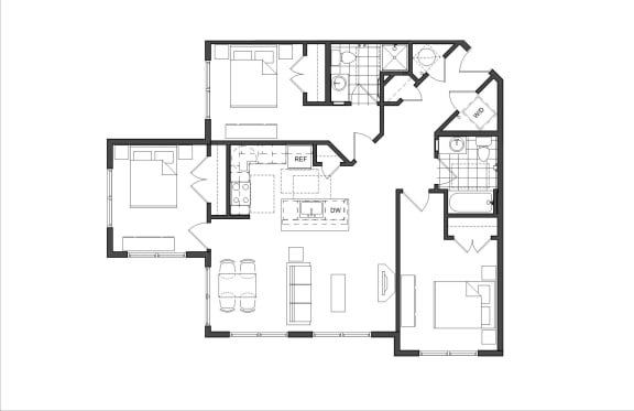 Floor Plan  Three-Bedroom- 3A