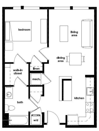 Floor Plan  One Bedroom- 1A