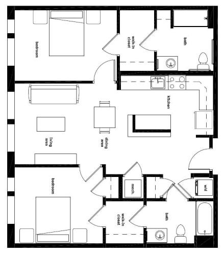 Floor Plan  Two Bedroom- 2A