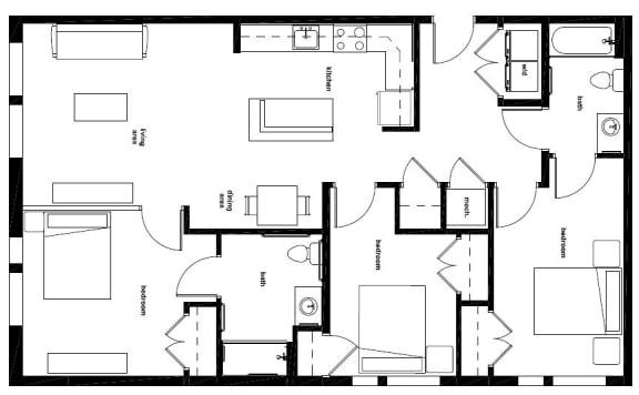 Floor Plan  Three Bedroom- 3A