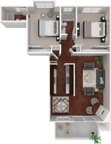 Floor Plan  Parkside Apartments_San Anselmo CA_Floor Plan_The Alameda_Two Bedroom Two Bathroom