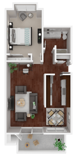 Floor Plan  Parkside Apartments_San Anselmo CA_Floor Plan_The Lake_One Bedroom One Bathroom