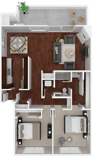Floor Plan  Parkside Apartments_San Anselmo CA_Floor Plan_The Marin_Two Bedroom One Bathroom