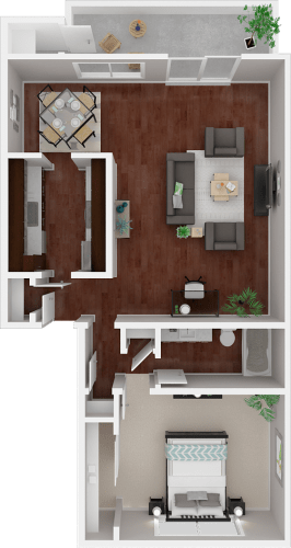 Floor Plan  Parkside Apartments_San Anselmo CA_Floor Plan_The Mendocino_One Bedroom One Bathroom
