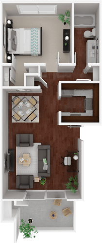 Floor Plan  Parkside Apartments_San Anselmo CA_Floor Plan_The Solano_One Bedroom One Bathroom