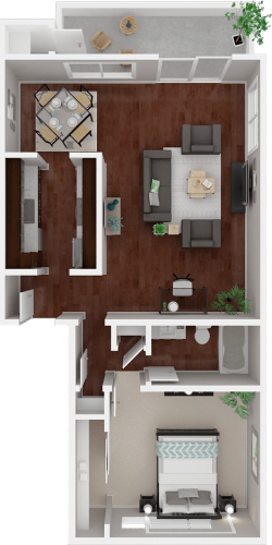 Floor Plan  Parkside Apartments_San Anselmo CA_Floor Plan_The Sonoma_One Bedroom One Bathroom