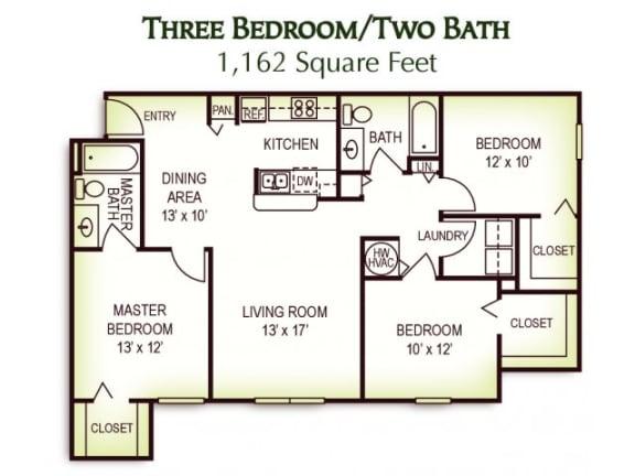 Floor Plan  3 Bedroom 2 Bath Floor Plan, 1,162 Square Feet