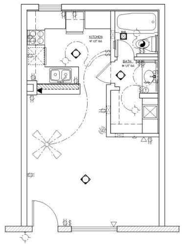 Floor Plan  Studio 405 Sq Ft