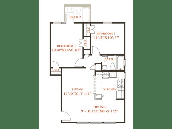 Floor Plan  Beech floor plan, 2 bedrooms 1 bath, 796 sqaure feet at Britain Way Apartments