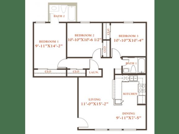 Floor Plan  Elm floor plan, 3 bedrooms 1 bath, 968 sqaure feet at Britain Way Apartments