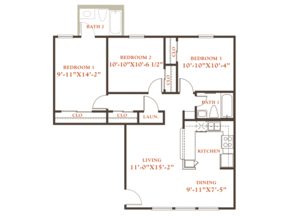 Floor Plan  Holly floor plan, 3 bedrooms 2 baths, 1,022 sqaure feet at Britain Way Apartments