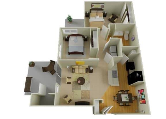 Floor Plan  Richland, WA Badger Mountain Ranch Apartments 2 bedroom 1 bath