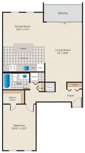 Floor Plan  1 Bedroom - Premium
