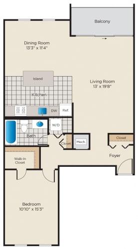 Floor Plan  1 Bedroom - Renovated