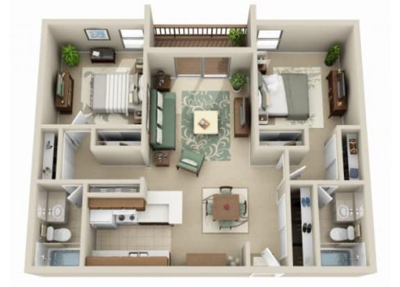 Floor Plan  2 bedroom 2 bathroom at Claremont Villas Apartments in Tucson, AZ