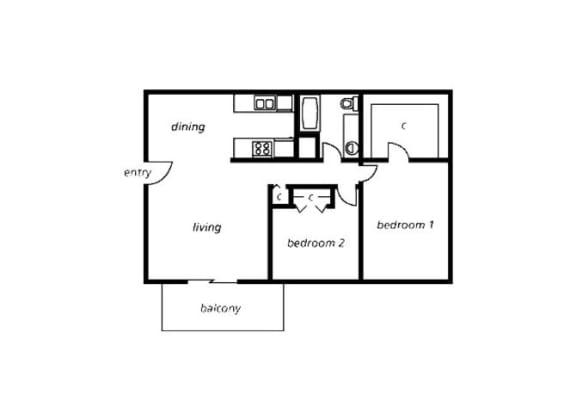 Floor Plan  2 bedroom 1 bathroom floor plan at The View At Catalina Apartments in Tucson, AZ