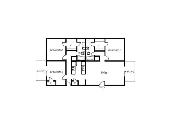 Floor Plan  3 bedroom 2 bathroom floor plan at The View At Catalina Apartments in Tucson, AZ