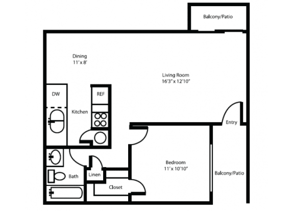 Floor Plan  One bedroom one bathroom delux floor plan at Canyon Heights Apartments in Tucson, AZ, opens a dialog.