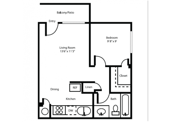 Floor Plan  One bedroom one bathroom junior floor plan at Canyon Heights Apartments in Tucson, AZ, opens a dialog.