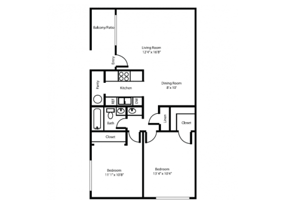 Floor Plan  Two bedroom Two bathroom delux floor plan at Canyon Heights Apartments in Tucson, AZ, opens a dialog.