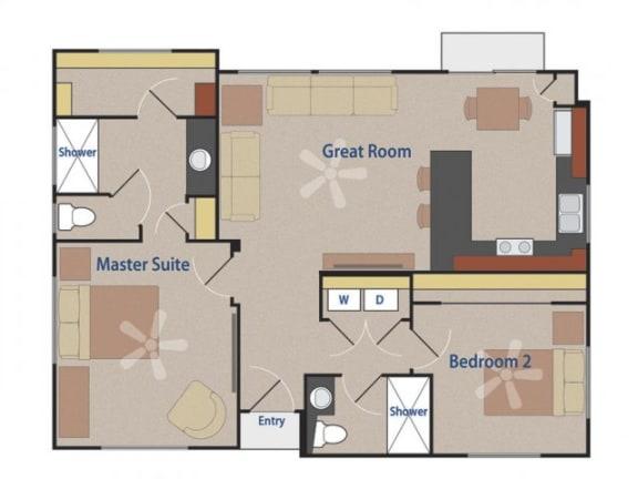Floor Plan  THE BATLEUR 2 bedroom 2 bathroom 965 square feet floor plan at Casitas At San Marcos in Chandler, AZ
