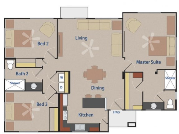 Floor Plan  THE GRIFFIN 3 bedroom 2 bathroom 1244 square feet floor plan at Casitas At San Marcos in Chandler, AZ