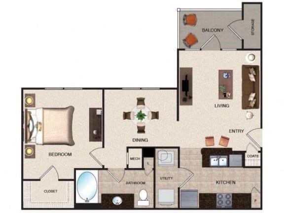 Floor Plan  Apricot - 1 BR / 1 BA