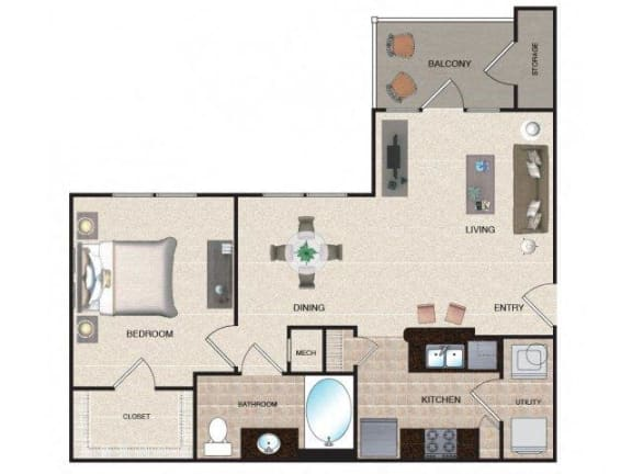 Floor Plan  Aspen - 1 BR / 1 BA