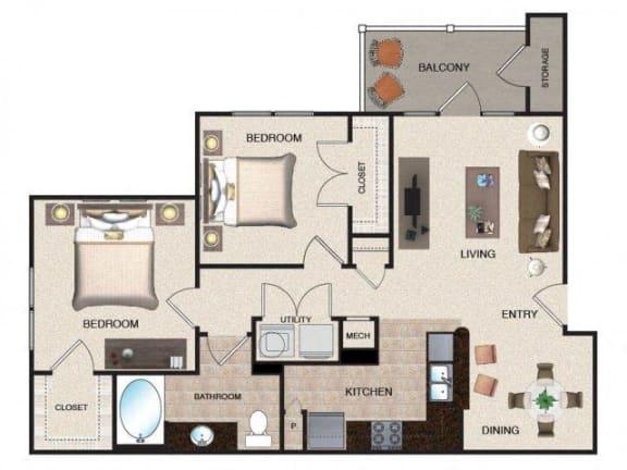Floor Plan  Banyan - 2 BR / 1 BA